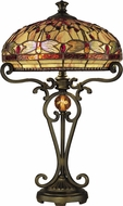 Dale Tiffany TT10095 Briar Dragonfly Tiffany Antique Golden Sand Table Lamp Lighting