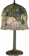 Dale Tiffany TT10379 Flowering Lotus Tiffany Antique Bronze / Verde Side Table Lamp