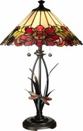 Dale Tiffany TT10793 Floral With Dragonfly Tiffany Antique Bronze Table Lamp