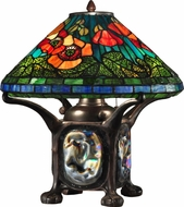 Dale Tiffany TT12329 Poppy Tiffany Dark Antique Bronze Table Top Lamp