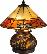 Dale Tiffany TT13092 Genoa Tiffany Dark Antique Bronze Lighting Table Lamp