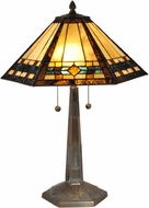 Dale Tiffany TT15080 Ginger Diamond Tiffany Antique Brass Lighting Table Lamp