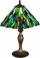 Dale Tiffany TT15095 Jeweled Leaf Tiffany Antique Bronze/Verde Table Lighting