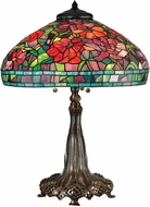 Dale Tiffany TT15104 Red Peony Tiffany Antique Bronze/Verde Table Lamp