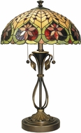 Dale Tiffany TT60024 Leilani Tiffany Antique Brass Side Table Lamp