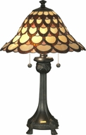 Dale Tiffany TT70110 Peacock Tiffany Antique Bronze Side Table Lamp