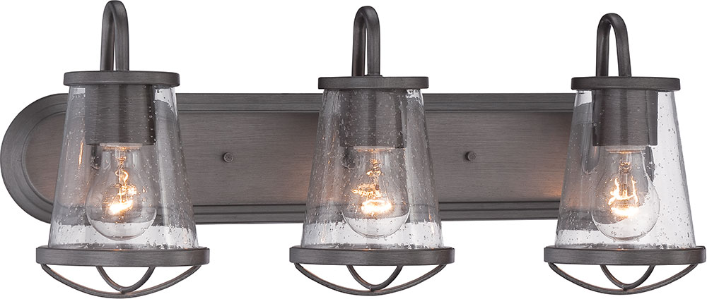 Designers Fountain 87003 WI Darby Weathered Iron 3 Light Vanity Lighting.  Loading Zoom