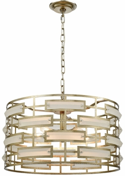 Dimond 1141-030 Metro Silver Leaf Acid Crystal Drum Pendant Lighting
