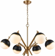 Dimond 1141-074 Blind Tiger Modern Aged Brass With Black Gold White Glass Chandelier Lamp