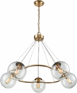 Dimond 1141-076 Surface To Air Modern Aged Brass With Clear Glass Chandelier Light