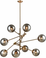Dimond 1141-082 Accelerated Returns Modern Aged Brass Withplated Smoke Glass Hanging Chandelier
