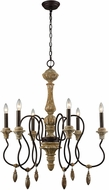 Dimond 1202-001 Salon de Provence Natural Woodtone / Aged Iron Chandelier Light