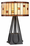 Dimond D2539 Folkstone Tiffany Matte Black Finish 12  Wide LED Table Top Lamp