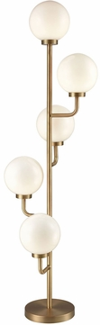 Dimond D3228 Huntington Drive Contemporary Aged Brass Frosted White Fluorescent Floor Lamp Lighting
