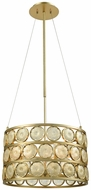 Dimond D3312 Signet Modern Light Amber Smoke Gold Drum Hanging Pendant Lighting