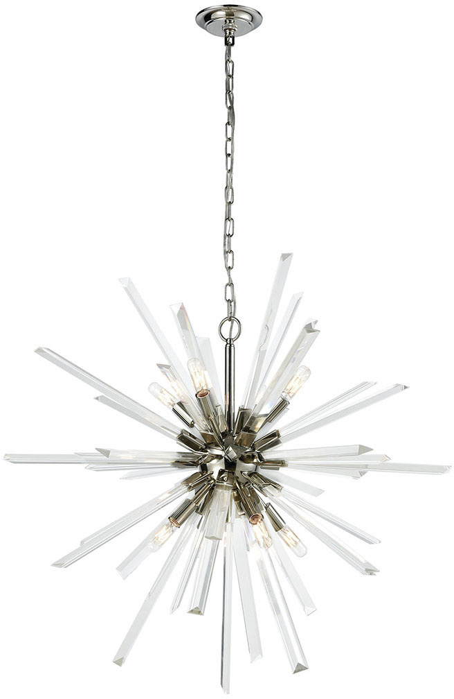 Dimond D3567 Ice Geist Polished Nickel Clear Crystal Chandelier ...