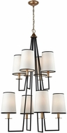Dimond D3573 Nico Oil Rubbed Bronze Antique Gold Leaf Chandelier Lamp