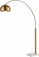 Dimond D3591 Solar Flair Modern Aged Brass And White Marble Arc Lighting Floor Lamp