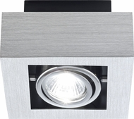 EGLO 89075A Loke Modern Brushed Aluminum, Chrome & Black Halogen Ceiling Light Fixture