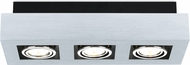 EGLO 89077A Loke Modern Brushed Aluminum, Chrome & Black Halogen Ceiling Light Fixture
