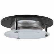 Elco EL2660B Contemporary Black Medium Base 3  Halogen Line Voltage Down Lighting Die Cast Offset Glass Panel Trim