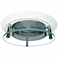 Elco EL2660W Modern White Medium Base 3  Halogen Line Voltage Recessed Light Die Cast Offset Glass Panel Trim