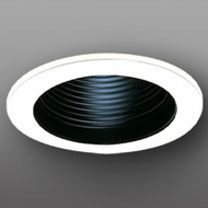 Elco EL993BC Contemporary Black with Clear Medium Base 4  Recessed Light Phelonic Baffle Mini Trim