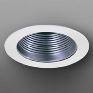 Elco EL993KNW Contemporary Nickel with White Medium Base 4  Recessed Light Baffle Mini Trim (with Bracket)