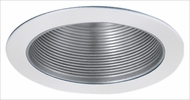Elco ELM530NW Modern Nickel with White Medium Base 5  Recessed Lighting Metal Stepped Baffle Trim