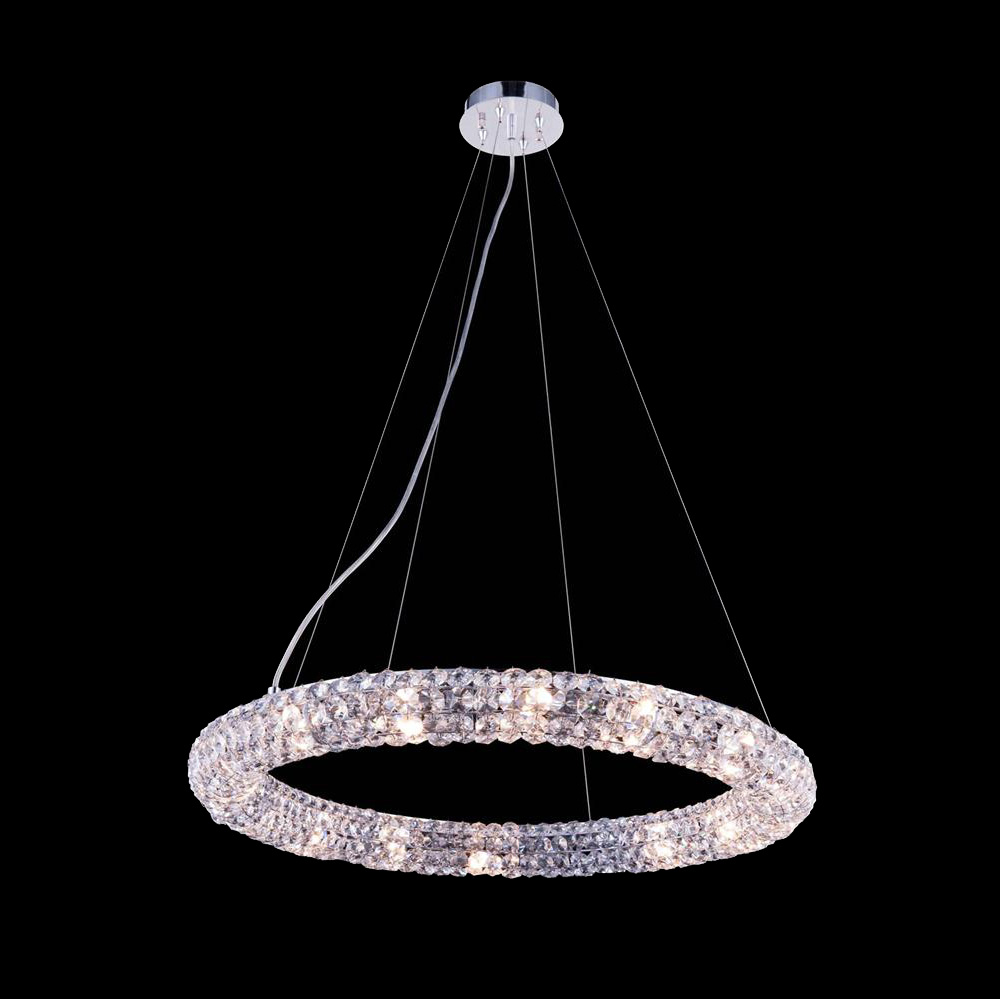 Superior Elegant 2912d24crc Halo 24 Wide Pendant Light Fixture Loading Zoom