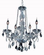 Elegant 7855D21SS-SS-RC Verona Silver Shade 5 Light Chandelier with Silver Shade Crystal Accents