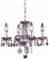 Elegant V7804D15PE-RC Rococo Purple Mini Chandelier Light