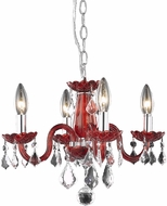 Elegant V7804D15RD-RC Rococo Red Mini Lighting Chandelier
