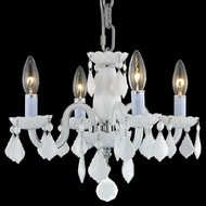 Elegant V7804D15WH-WH-RC Rococo White Mini Chandelier Light