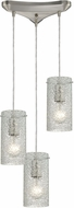 ELK 10242-3CL Ice Fragments Contemporary Satin Nickel Multi Drop Ceiling Light Fixture