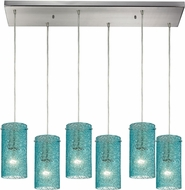 ELK 10242-6RC-AQ Ice Fragments Modern Satin Nickel Multi Hanging Light