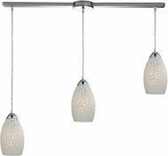 ELK 10245-3L Etched Glass Contemporary Polished Chrome Multi Hanging Pendant Lighting