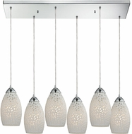 ELK 10245-6RC Etched Glass Modern Polished Chrome Multi Hanging Pendant Light