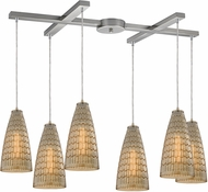 ELK 10249-6 Mickley Contemporary Satin Nickel Multi Pendant Light Fixture