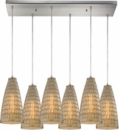ELK 10249-6RC Mickley Modern Satin Nickel Multi Pendant Lighting Fixture