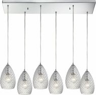ELK 10253-6RC-CL Geval Contemporary Polished Chrome Multi Drop Ceiling Light Fixture