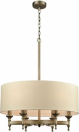 ELK 10264-6 Pembroke Brushed Antique Brass Drum Pendant Lighting