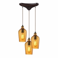 ELK 10331-3HAMB Hammered Glass Contemporary Oil Rubbed Bronze Multi Hanging Light