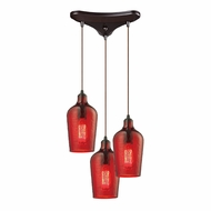 ELK 10331-3HRD Hammered Glass Contemporary Oil Rubbed Bronze Multi Pendant Lighting Fixture