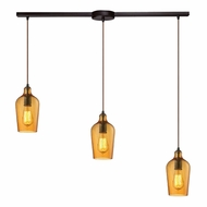 ELK 10331-3L-HAMB Hammered Glass Contemporary Oil Rubbed Bronze Multi Hanging Pendant Light