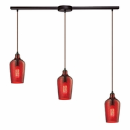 ELK 10331-3L-HRD Hammered Glass Contemporary Oil Rubbed Bronze Multi Hanging Light Fixture