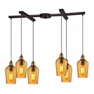 ELK 10331-6HAMB Hammered Glass Contemporary Oil Rubbed Bronze Multi Drop Ceiling Lighting