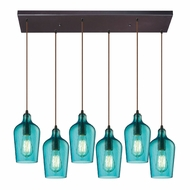 ELK 10331-6RC-HAQ Hammered Glass Modern Oil Rubbed Bronze Multi Pendant Lighting