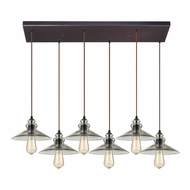 ELK 10332-6RC Hammered Glass Modern Oil Rubbed Bronze Multi Pendant Light Fixture