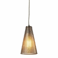 ELK 10333-1 Ribbed Glass Contemporary Satin Nickel Mini Pendant Lighting Fixture